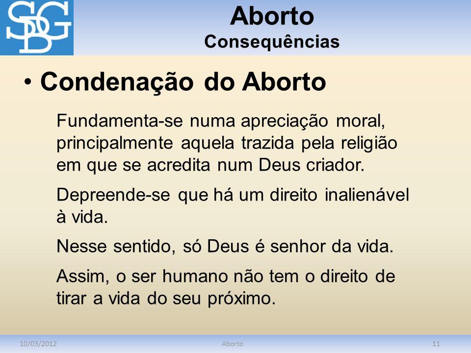Aborto Consequências Condenação do Aborto