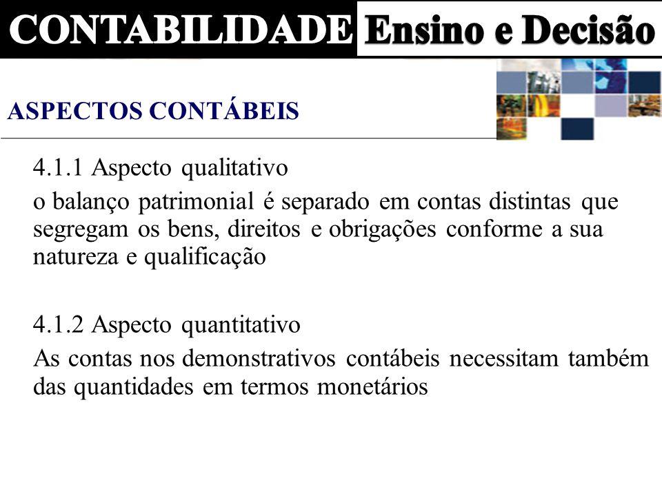 Aspectos Contábeis4.1.1 Aspecto qualitativo.