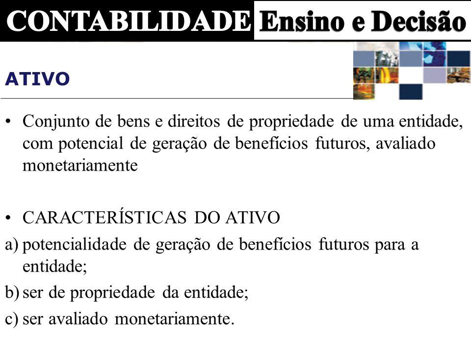 AtivoConjunto de bens e direitos de propriedade de uma entidade, com potencial de geração de benefícios futuros, avaliado monetariamente.