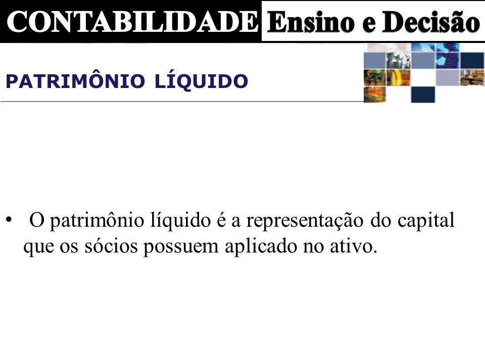 PATRIMÔNIO LÍQUIDO O patrimônio líquido é a representação do capital que os sócios possuem aplicado no ativo.
