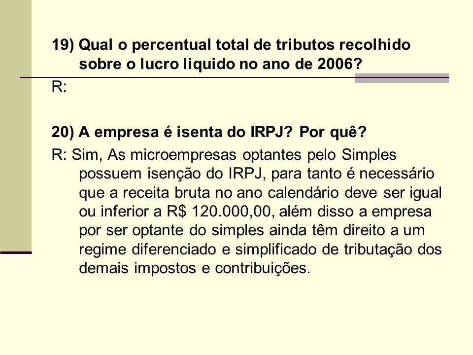 19) Qual o percentual total de tributos recolhido sobre o lucro liquido no ano de 2006