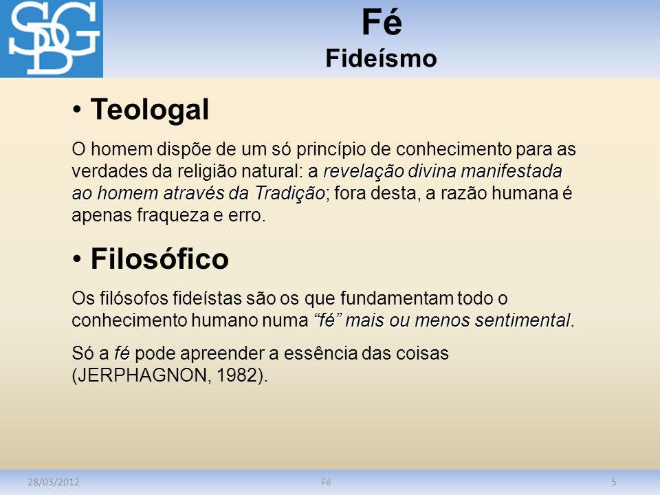 Fé Fideísmo Teologal Filosófico