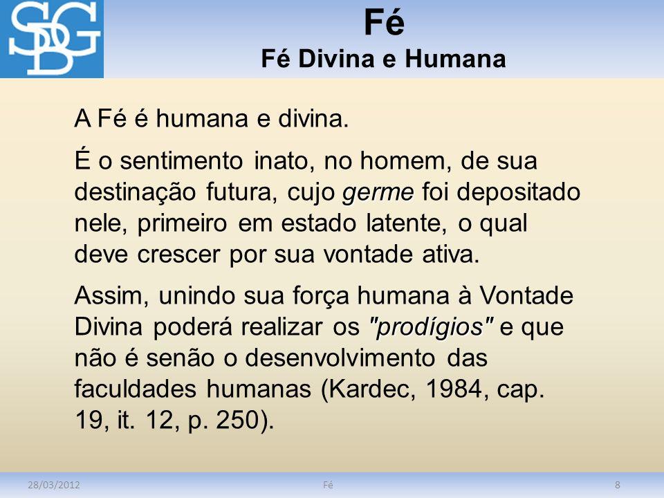 Fé Fé Divina e Humana A Fé é humana e divina.