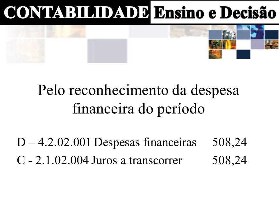 Pelo reconhecimento da despesa financeira do período
