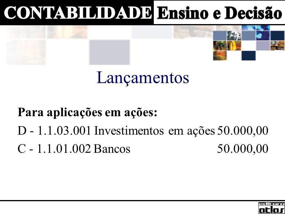 Lançamentos Para aplicações em ações: