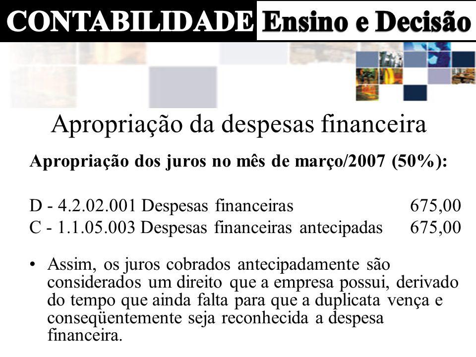Apropriação da despesas financeira