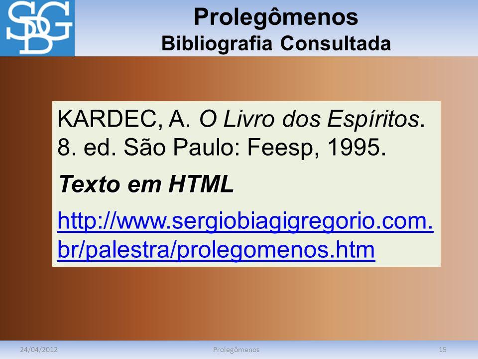 Prolegômenos Bibliografia Consultada