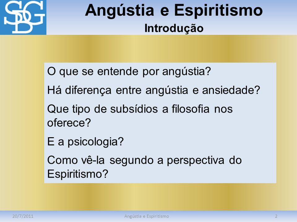 Angústia e Espiritismo Introdução
