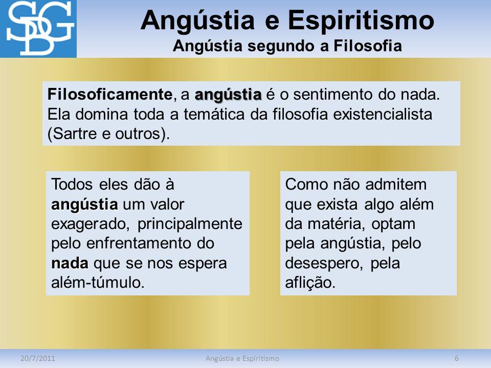 Angústia e Espiritismo Angústia segundo a Filosofia