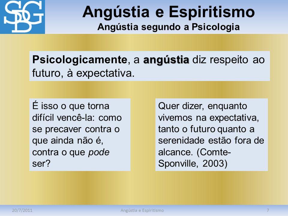 Angústia e Espiritismo Angústia segundo a Psicologia