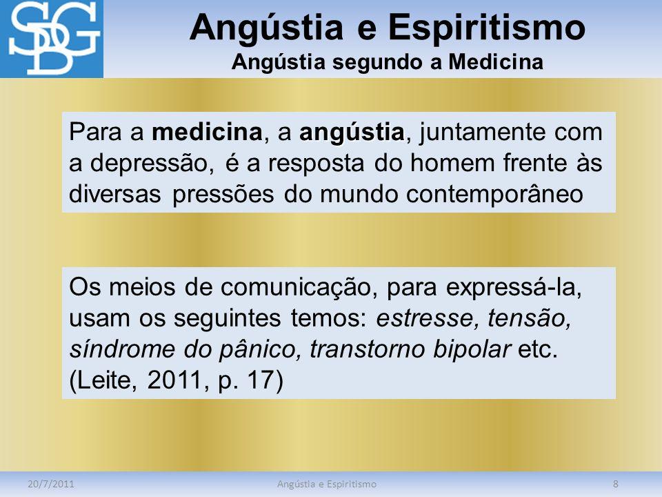 Angústia e Espiritismo Angústia segundo a Medicina