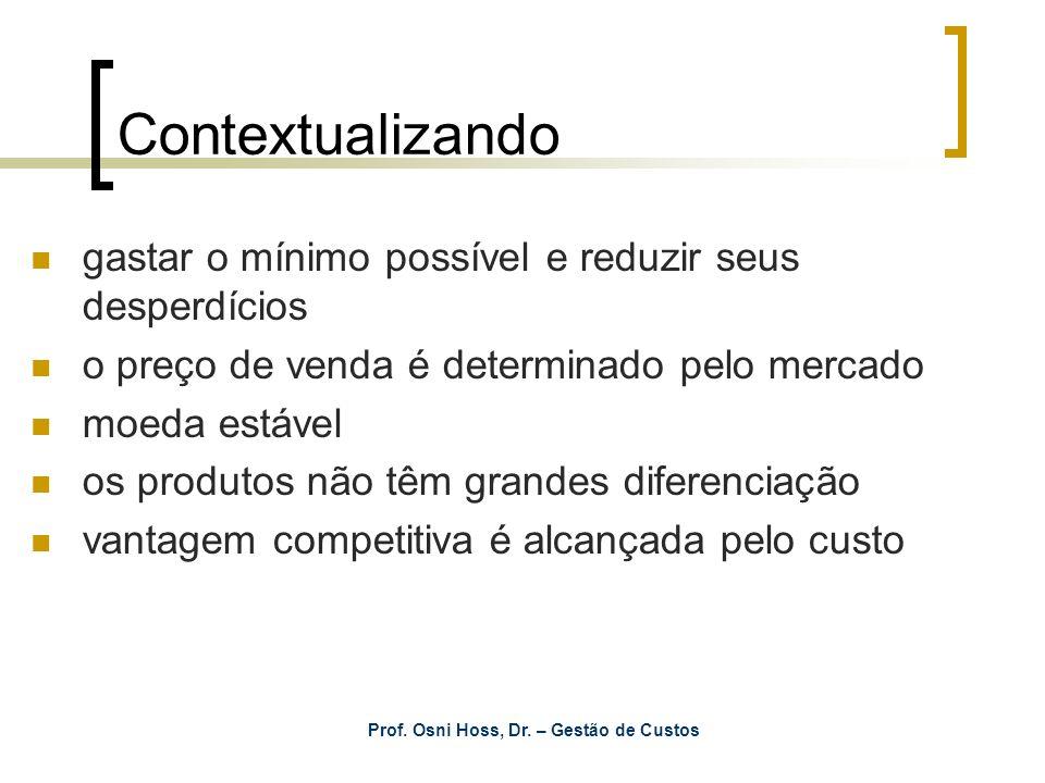 Prof. Osni Hoss, Dr. – Gestão de Custos