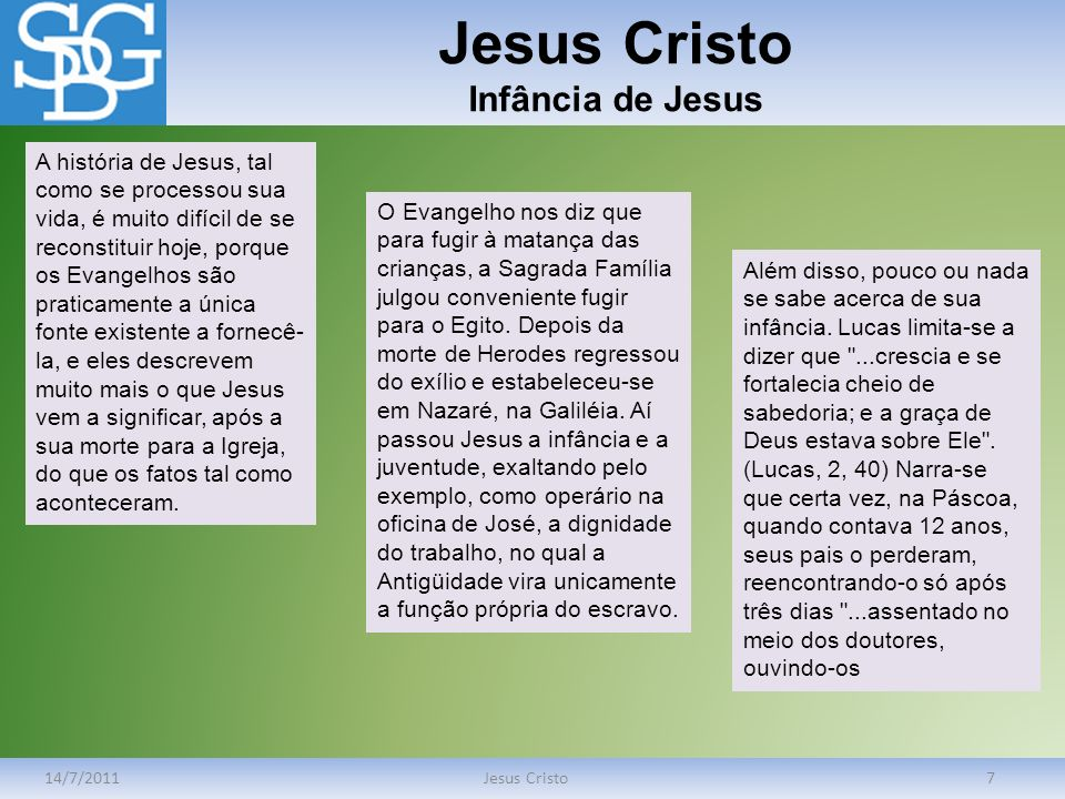 Jesus Cristo Infância de Jesus