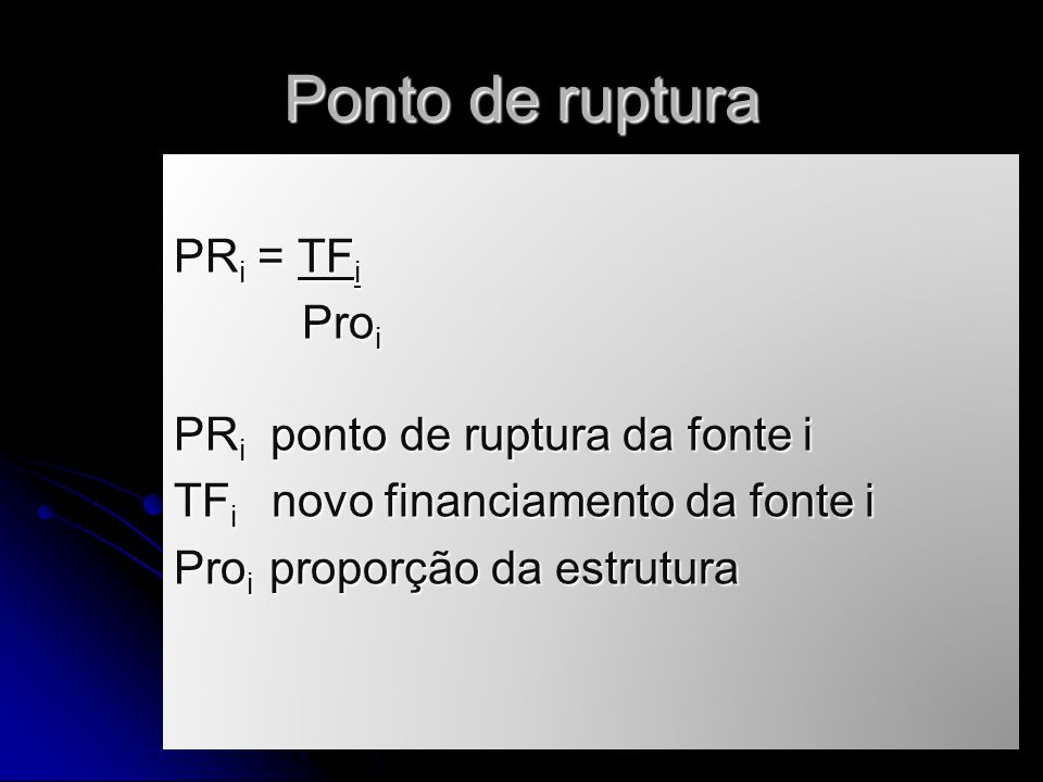 Ponto de ruptura PRi = TFi Proi PRi ponto de ruptura da fonte i