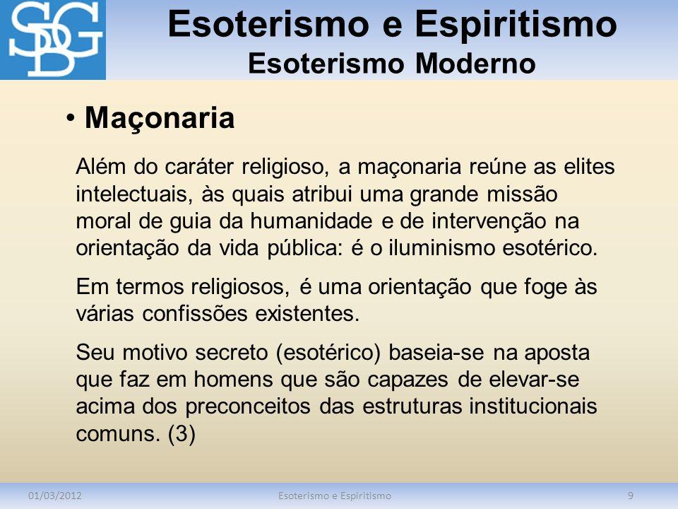 Esoterismo e Espiritismo Esoterismo Moderno