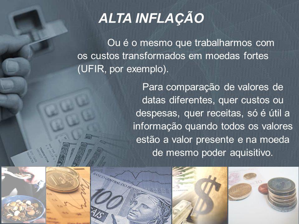 ALTA INFLAÇÃOOu é o mesmo que trabalharmos com os custos transformados em moedas fortes (UFIR, por exemplo).