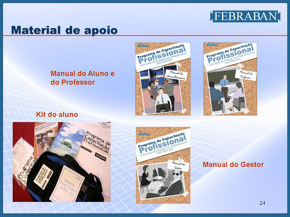 Material de apoio Manual do Aluno e do Professor Kit do aluno