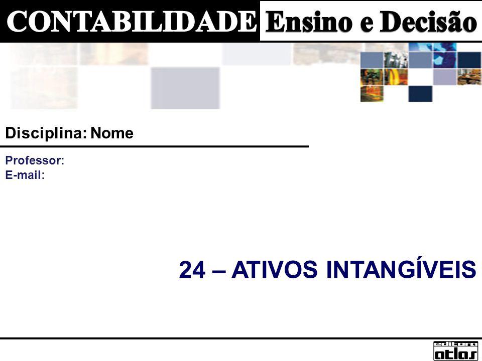 Disciplina: Nome Professor: E-mail: 24 – Ativos Intangíveis