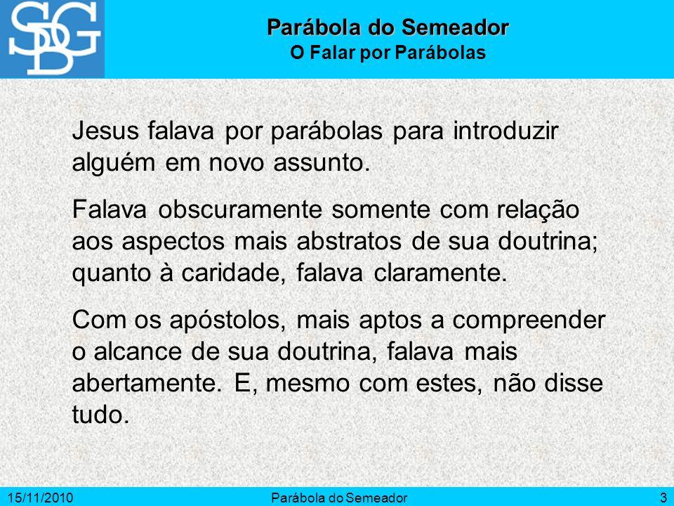 Jesus falava por parábolas para introduzir alguém em novo assunto.