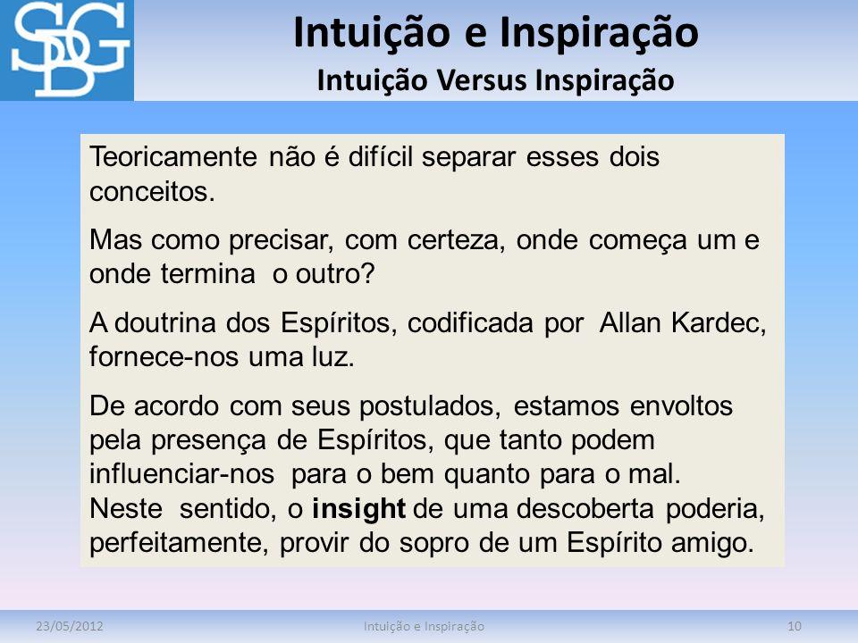 Intuição e Inspiração Intuição Versus Inspiração