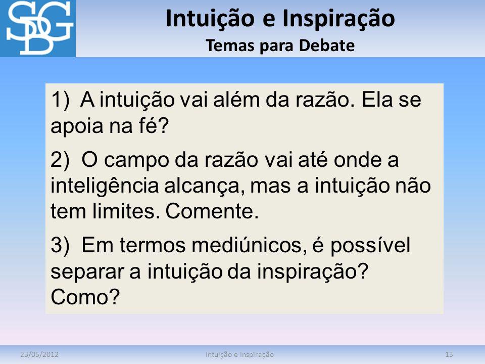 Intuição e Inspiração Temas para Debate