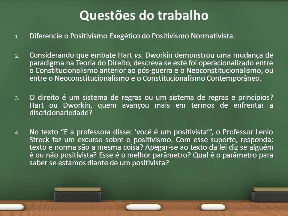 Questões do trabalho Diferencie o Positivismo Exegético do Positivismo Normativista.