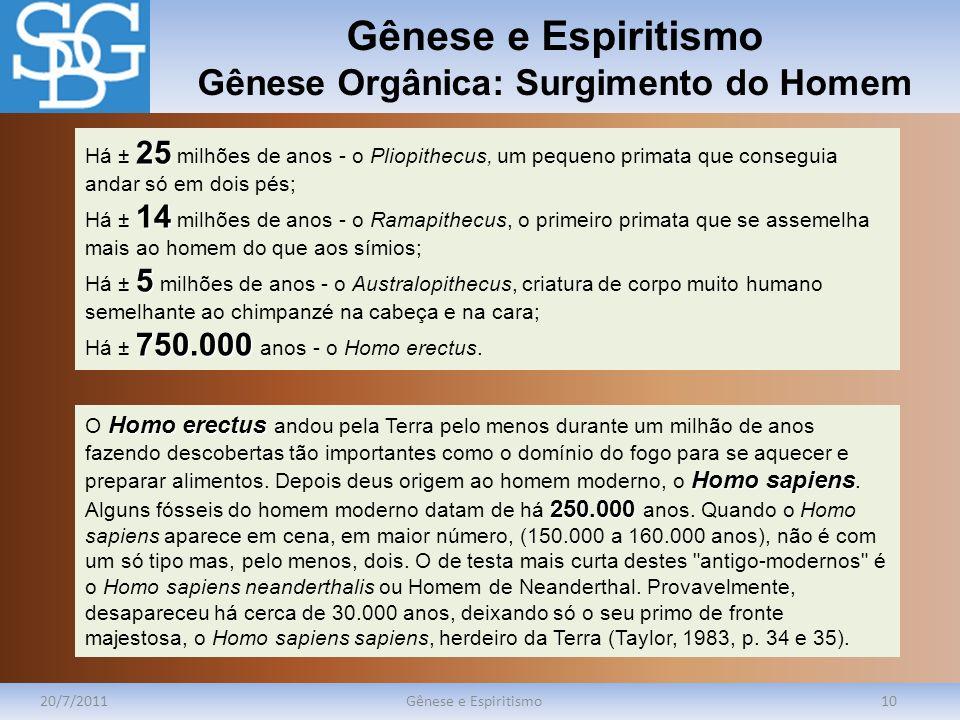 Gênese e Espiritismo Gênese Orgânica: Surgimento do Homem