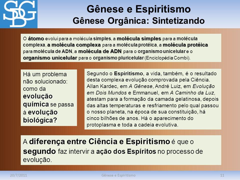 Gênese e Espiritismo Gênese Orgânica: Sintetizando