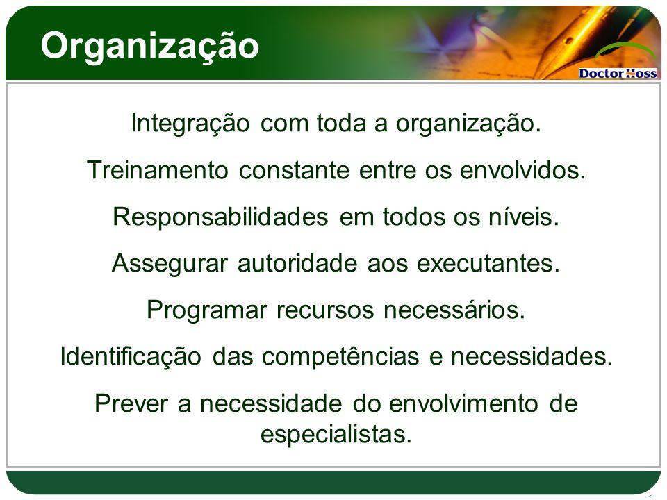 Organização Integração com toda a organização.