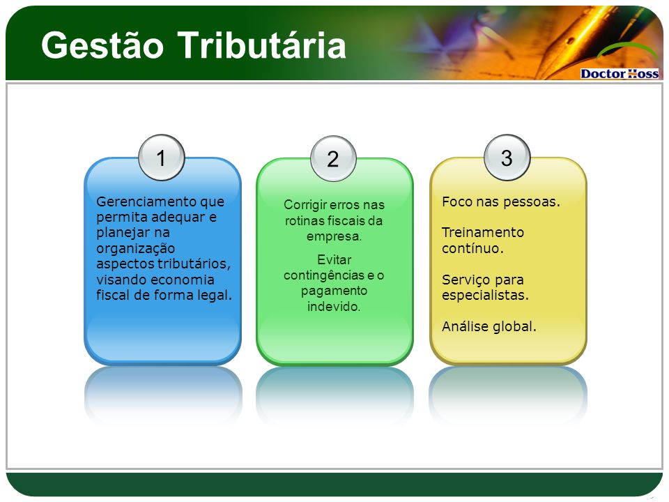 Gestão Tributária 1. Gerenciamento que permita adequar e planejar na organização aspectos tributários, visando economia fiscal de forma legal.