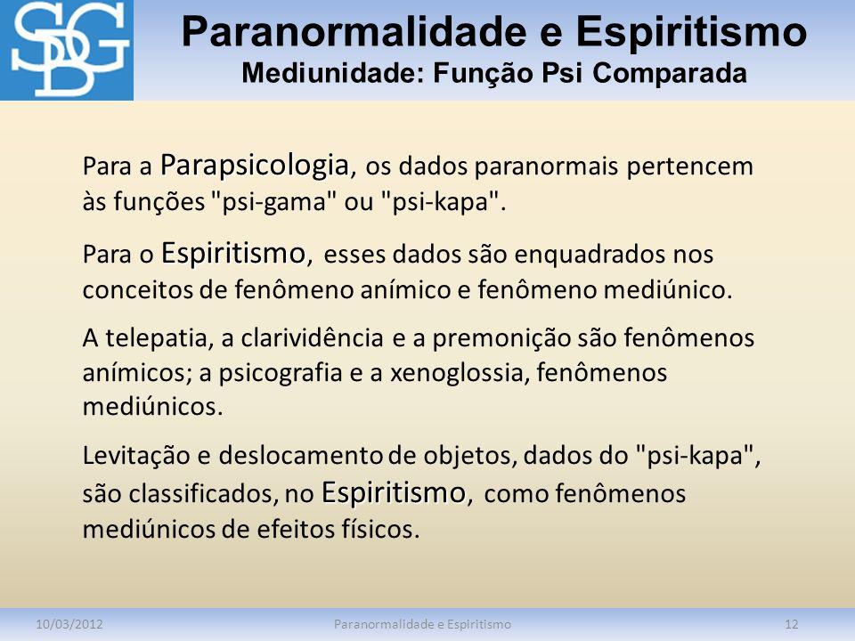 Paranormalidade e Espiritismo Mediunidade: Função Psi Comparada