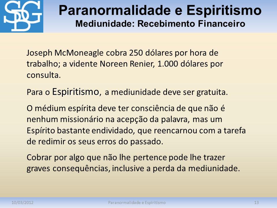 Paranormalidade e Espiritismo Mediunidade: Recebimento Financeiro