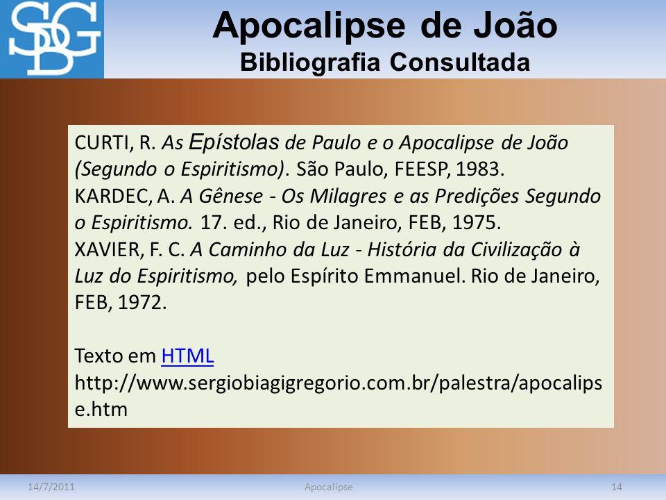Apocalipse de João Bibliografia Consultada