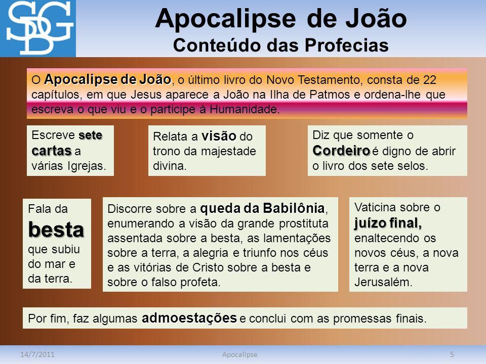 Apocalipse de João Conteúdo das Profecias