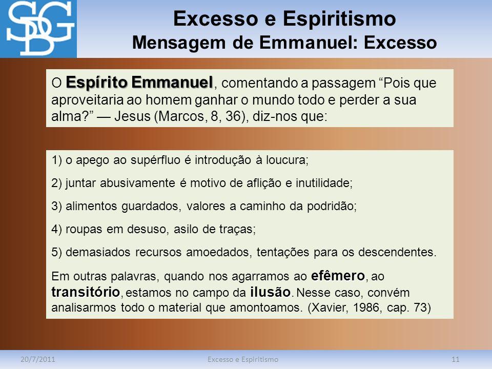 Excesso e Espiritismo Mensagem de Emmanuel: Excesso