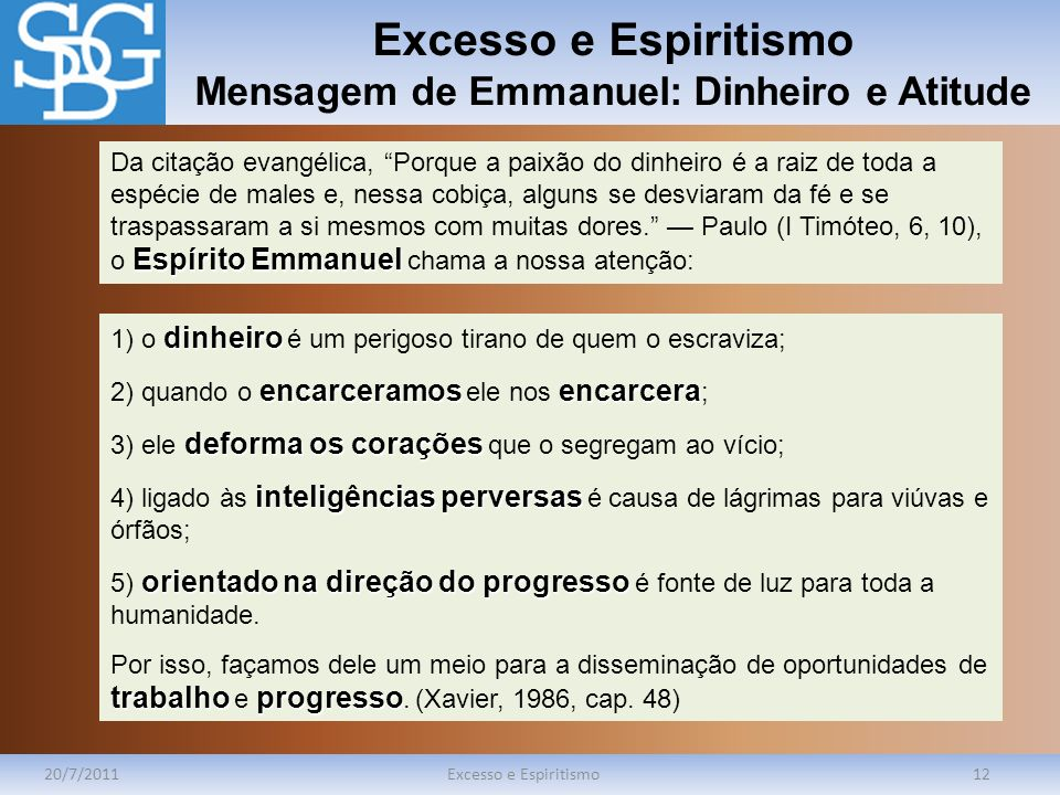 Excesso e Espiritismo Mensagem de Emmanuel: Dinheiro e Atitude