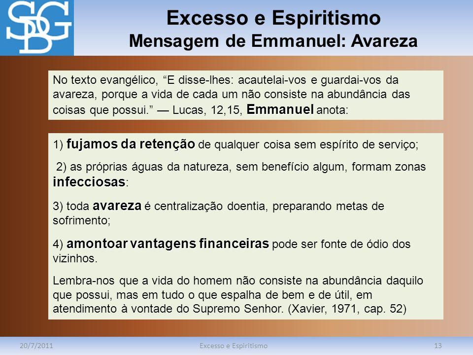 Excesso e Espiritismo Mensagem de Emmanuel: Avareza