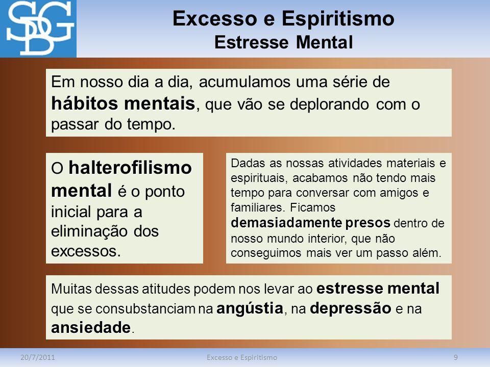 Excesso e Espiritismo Estresse Mental