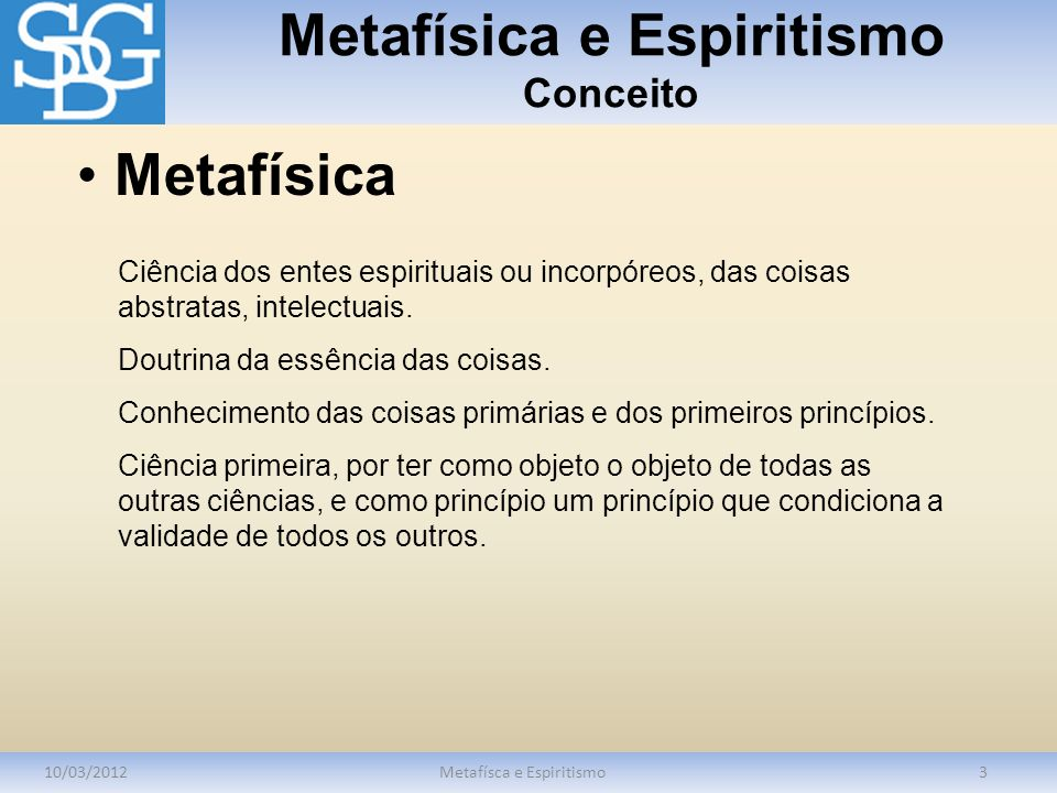 Metafísica e Espiritismo Conceito