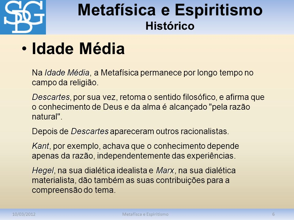 Metafísica e Espiritismo Histórico