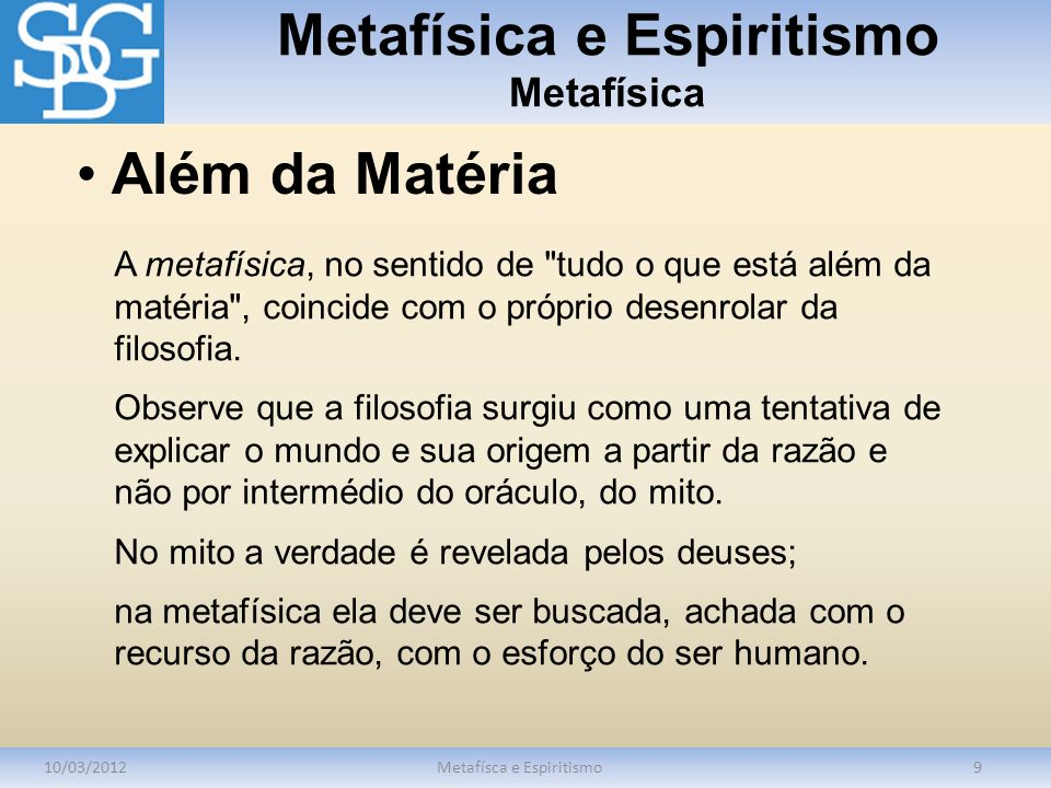 Metafísica e Espiritismo Metafísica