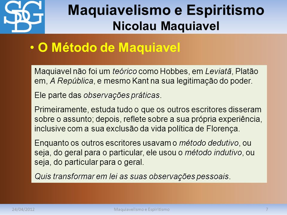 Maquiavelismo e Espiritismo Nicolau Maquiavel
