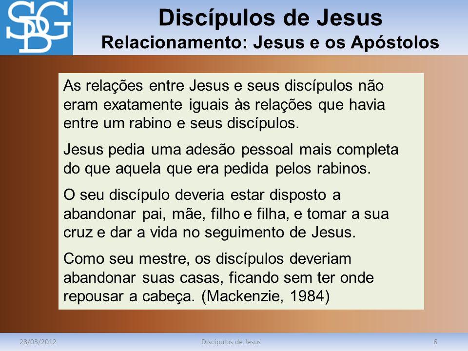 Discípulos de Jesus Relacionamento: Jesus e os Apóstolos