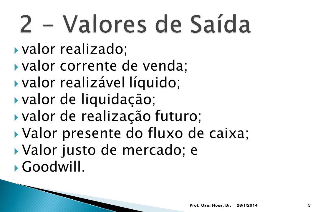 2 - Valores de Saída valor realizado; valor corrente de venda;