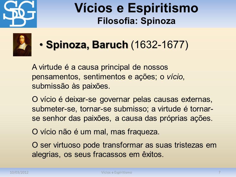 Vícios e Espiritismo Filosofia: Spinoza