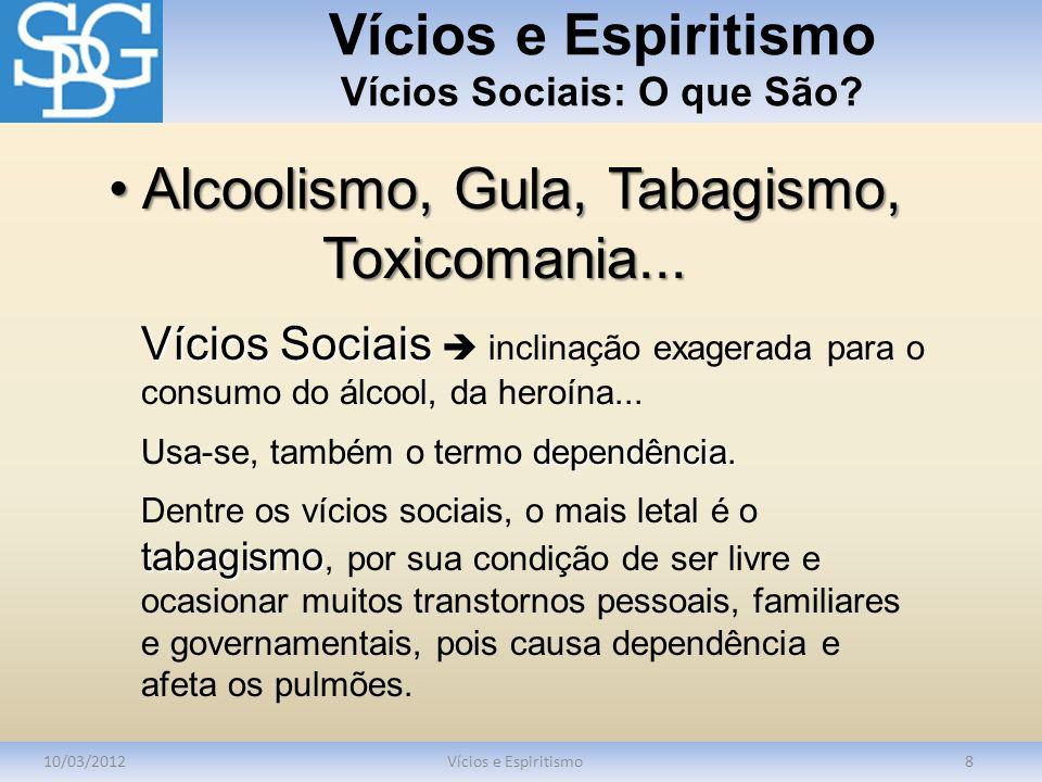 Vícios e Espiritismo Vícios Sociais: O que São