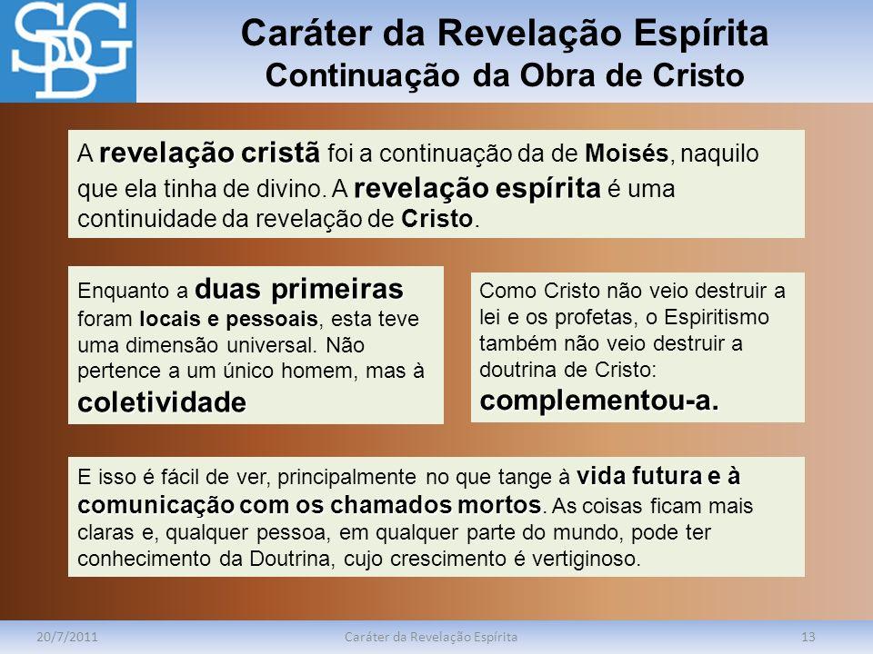 Caráter da Revelação Espírita Continuação da Obra de Cristo