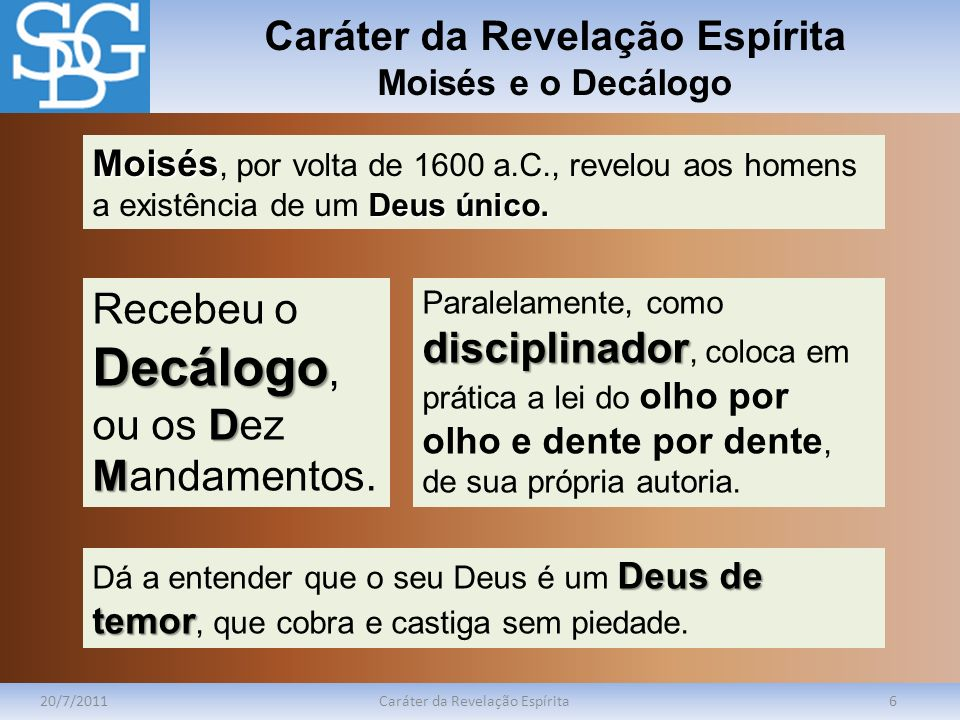 Caráter da Revelação Espírita Moisés e o Decálogo