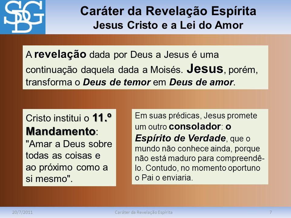Caráter da Revelação Espírita Jesus Cristo e a Lei do Amor
