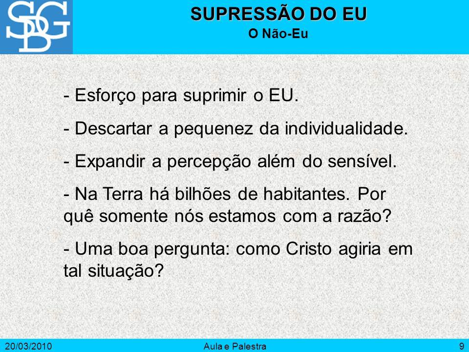 - Esforço para suprimir o EU.